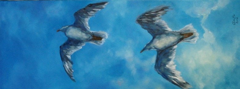 Pirates in the Sky (1), Olieverf op canvas, 40 x 80 cm, 2008
