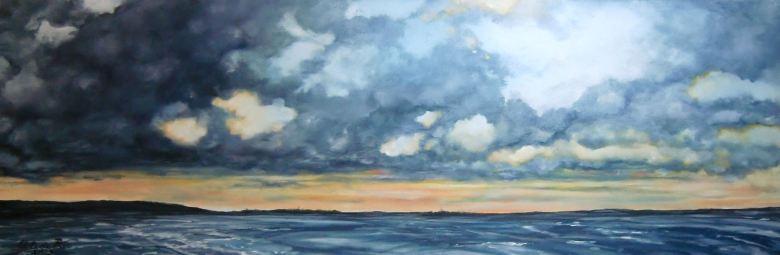 Wolken boven Oostervaardersplassen, Olieverf op canvas, 30 cm x 90 cm, 2013