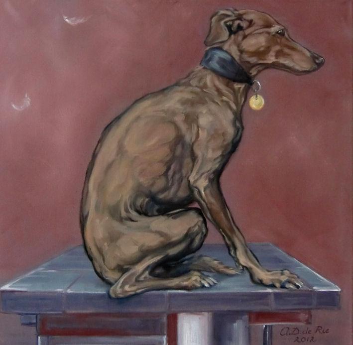 Windhondje 1, Olieverf op Canvas, 50 x 50 cm, 2012