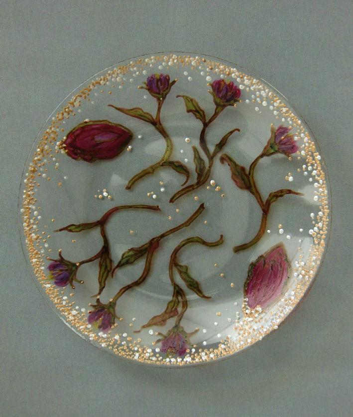 Glazen Schotel 'Floral', gebrandschilderd glas, doorsnede 30 cm, 2013