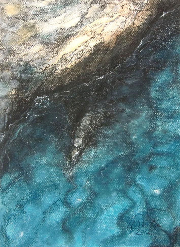 Boven Zee (Zuidkust Andalucia, Spanje), pastel & conté op canvaspapier, 40 x 30 cm, 2012
