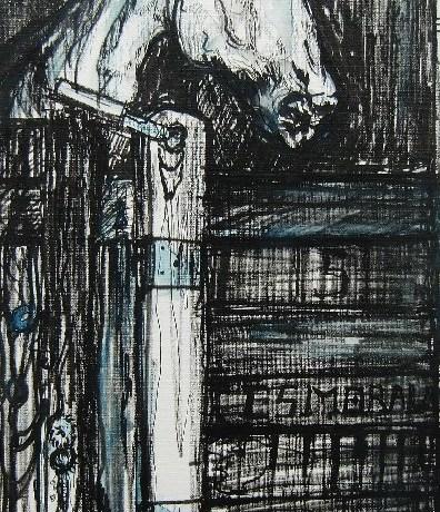 Caballo (Marbella), pastel & conté op canvaspapier, 50 x 20 cm, 2011