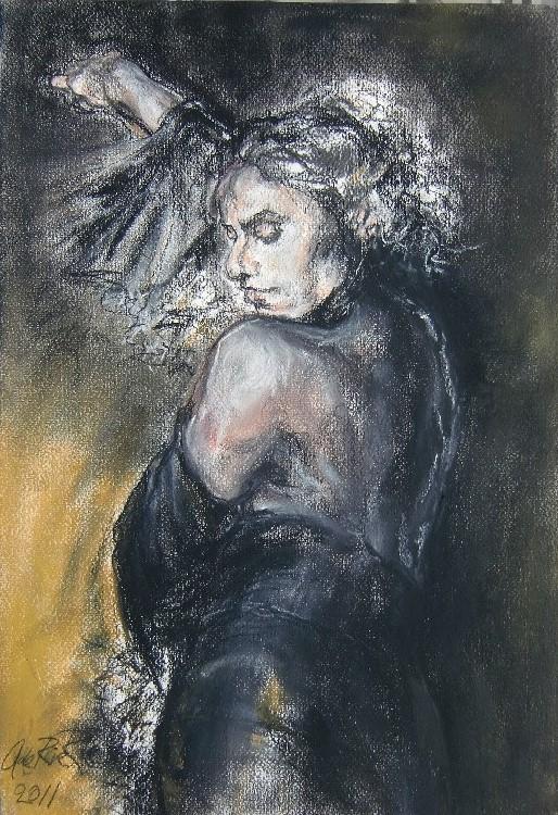 Baila! (Dans!) Marbella, pastel & conté op canvaspapier, 40 x 30 cm, 2011, VERKOCHT