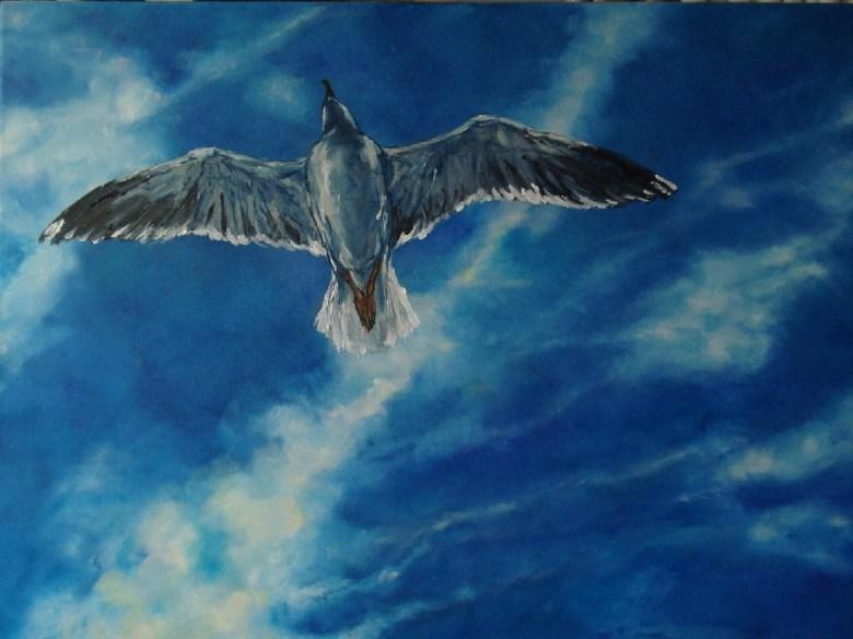 Pirates in the Sky II: Floating, olieverf op canvas, 90 x 70 cm, 2008, VERKOCHT
