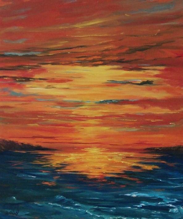 La Lumière Rouge, olieverf op canvas, 40 x 50 cm, 2008, VERKOCHT