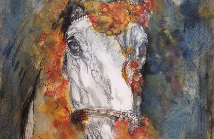 Fiësta: Paardje (Marbella, Spanje), gemengde techniek, 52 x 36 cm, 2010, VERKOCHT