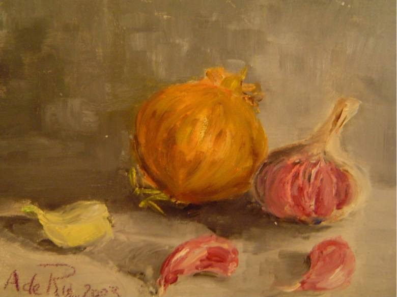 Ui en Knoflook, olieverf op canvas, 25 x 15 cm, 2003