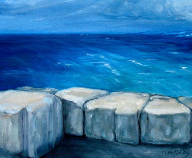 KustBlokken, Antibes, olieverf op canvas, 30 x 40 cm, 2009, VERKOCHT