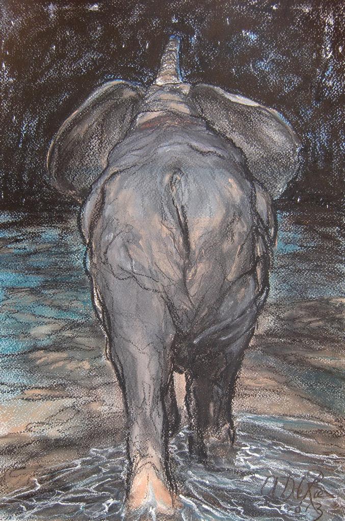 Marbella's Strandolifant, pastel en conté op canvaspapier, 45,5 x 30,5 cm, 2013