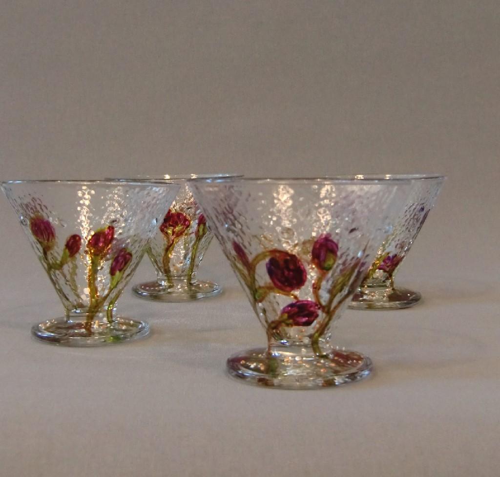 """Glazen """"Pink Floral"""", gebrandschilderd glas,10 x 8 cm, 2013"""