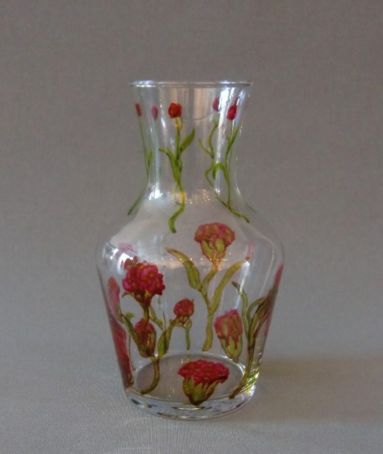 """Karaf """"Pink Floral"""", gebrandschilderd glas, 20 x 10 cm, 2013"""