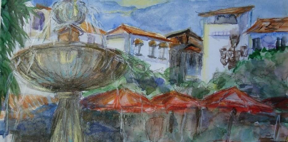 Plaza de los Naranjas, Marbella, aquarel, 15 cm x 10 cm, 2007