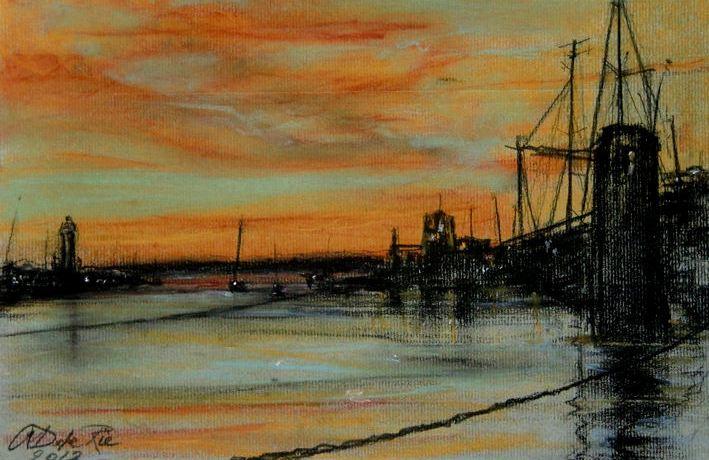 Puerto Banus in AvondZon (Andalucia, Spanje), pastel & conté op canvaspapier, 24 x 32 cm, 2012, VERKOCHT