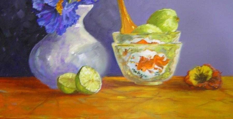 Irissen met Chinese kommen, olieverf op canvas, 50 x 40 cm, 2004