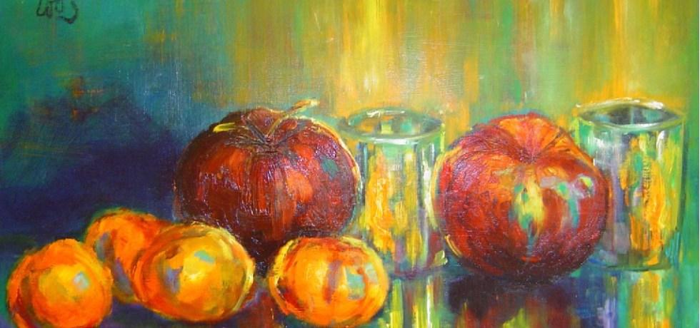 Fruit bij kaarslicht, olieverf op canvas, 50 x 40 cm, 2003, VERKOCHT