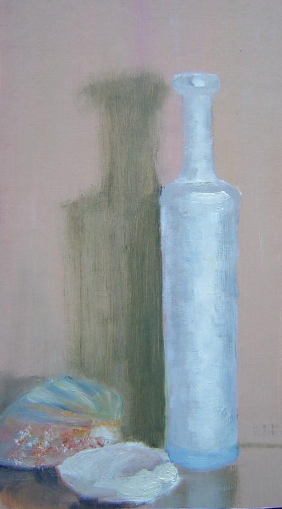 Stilleven met schelpen, olieverf op paneel, 25 x 15 cm, VERKOCHT
