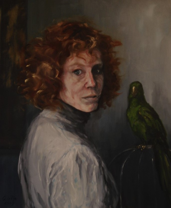Vrouw met Papegaai, olieverf op canvas, 60 x 50 cm, 2009