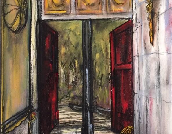 Doorkijkje Achtertuin Landhuis (Zuid-Spanje), pastelkrijt (kleurecht en UV bestendig) op ingres papier, 45 cm x 30 cm, 2015