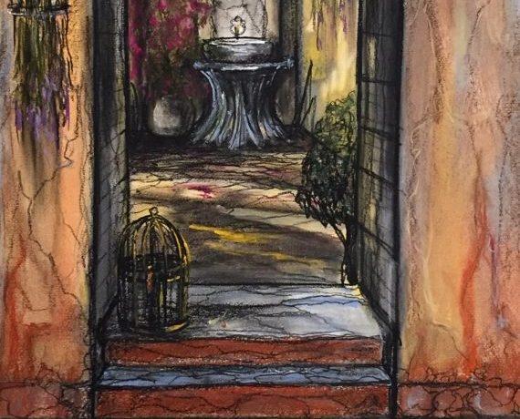 Doorkijkje Patio Landhuis (Zuid-Spanje), pastelkrijt (kleurecht en UV bestendig) op Ingres papier, 45 cm x 30 cm, 2015
