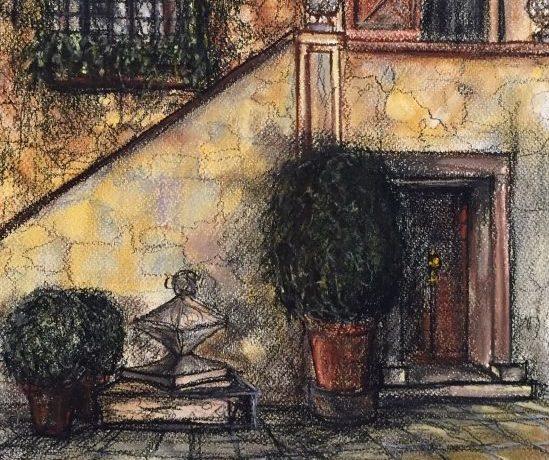 Entrada Landhuis (Zuid-Spanje), pastelkrijt (kleurecht en UV bestendig) op ingres papier, 45 cm x 30 cm, 2014
