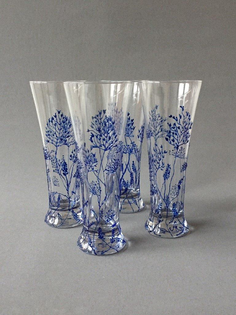 """Kelken """"Twijgjes Azul"""", gebrandschilderd glas, 20 x 8 cm, 2019"""