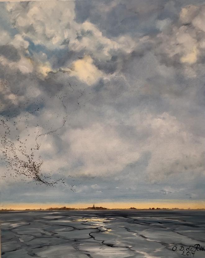 SpreeuwenDans boven Waterland (NH), olieverf op linnen, 60 cm x 50 cm, 2014