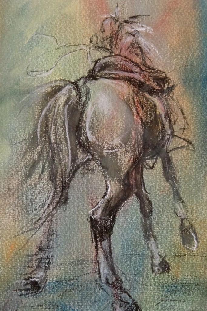 Caballo Vapor (Paardekracht) ( Andalucia), pastel & conté op canvaspapier, 25 x 15 cm, 2012