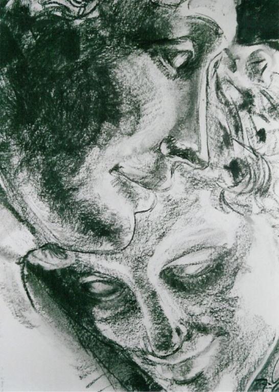 Canova's Psyche en Amour, Houtskool, 70 x 50 cm, 2004, VERKOCHT