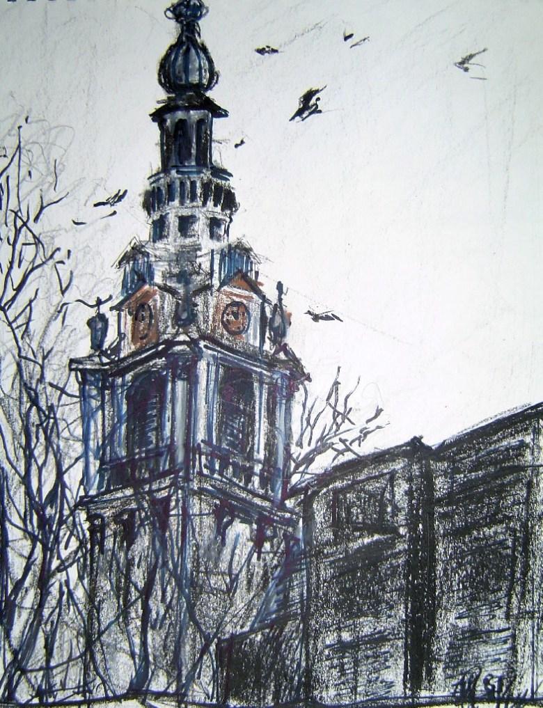 Zuiderkerk vanaf het Waterlooplein, Gemengde techniek op papier, 32 x 24 cm, 2002, VERKOCHT