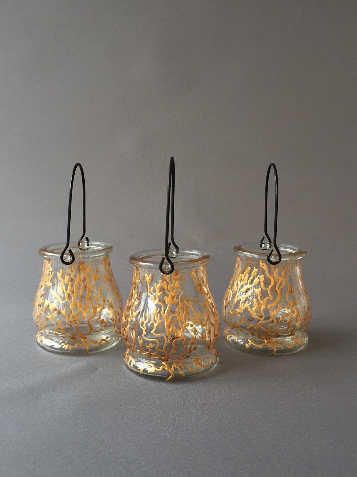 Lantaarntjes 'Belle Époque d'Or', Gebrandschilderd Glas, 10 x 8 cm, 2019