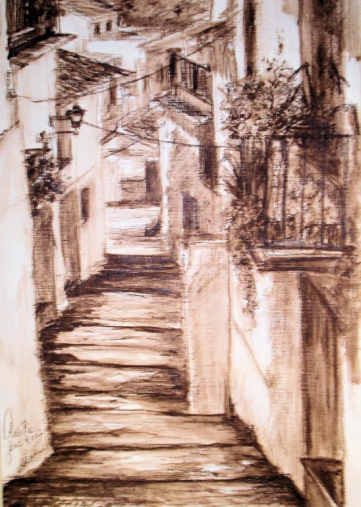 Old Town Marbella (Spanje), Sepia krijt & potlood, 40 x 30 cm, 2007, VERKOCHT