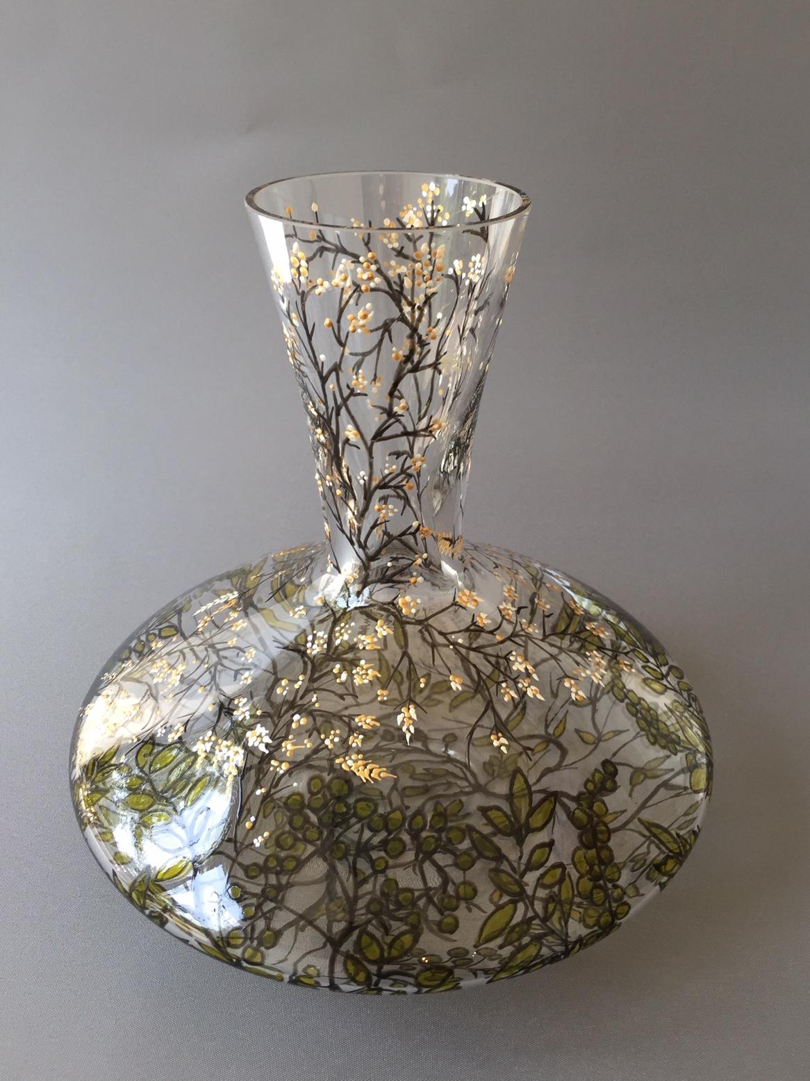 Karaf 'Kersen Bloesem', Gebrandschilderd Kristal