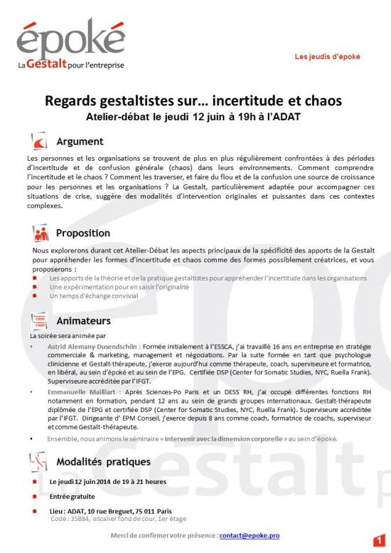 affiche_mercredis d'epoke_incertitude et chaos