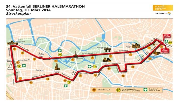 Berlin Half Marathon 2014 Route