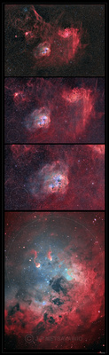J-P Metsavainio: Narrowband Nebulae, Natural Colors &emdash; IC 410, zoom in series