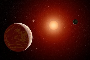Artist's conception of planets orbiting a low-mass star. (image courtesy of NASA/JPL)