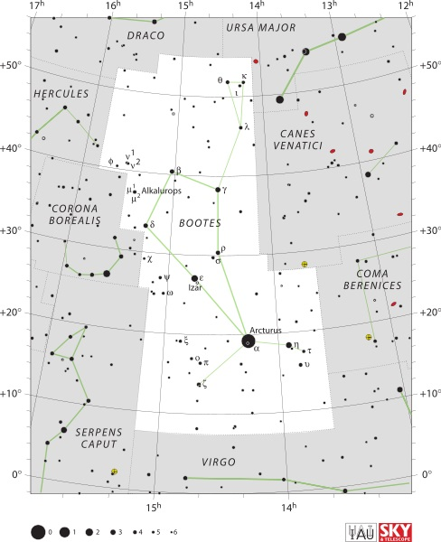 Bootes Constellation Map