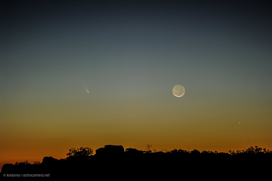 Comet Panstarrs and the young moon.