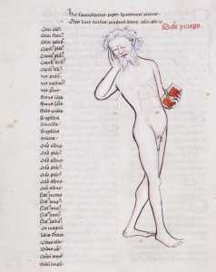 Джон де Фокстон. Книга о космографии. Рукопись. XV век (1408) / Йоркшир, Англия. Библиотека Тринити-колледжа, Кембридж, Великобритания. MS R.15.21 fol.14v. Флегматик в позе спящего на ходу. В тексте над фигурой сказано, что он сонлив (отсюда закрытые глаза и положение правой руки, подпирающей голову), отличается повышенным слюноотделением (что видно на картинке) и пониженной остротой реакции, у него жирное лицо. Ему соответствует белый цвет. Его атрибут - книга. В тексте слева - детали его внешности, например, цвет тела белый, желтый или бледный, волосы сероватые, светлые и густые, голос красивый, средний или низкий, лоб вытянутый или квадратный, брови прямые, глаза светлые или синие, рот большой, губы тонкие, зубы белые и ровные, подбородок округлый или вытянутый