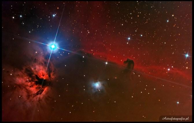 """Teleskop SkyWatcher Newton 8"""" (200/1000) zmodyfikowany 300D montaż Takahashi EM200. Jedna nocka pogody po długim okresie posuchy jest testem na sumienne wypełnienie listy rzeczy do wykonania przed i w czasie sesji foto. Poszło prawie dobrze, nie licząc takich drobiazgów jak wiatr w okolicy 30 km/h przez pierwszą godzinę, a potem przeciętnego seeingu (w okolicy 5~7""""). Ostatecznie też, okazało się , że mam jakiś problem kolimacyjno-sprzętowo-chińszczano-tubowy ze swoim SW 200/1000. Raz gwiazdki w polu ideał, raz tyćke coś gdzieś leci. Zdjęcie to zmniejszona i obcięta o około 10% pełna klatka."""