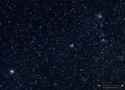 M36 M37 M38. Eos 300D + Canon EF 100/2,8 przy przesłonie 4,5 - 6x 120 sekund = 12 minut ISO 800 Prowadzone teleskopie Soligor MT-800 (podziękowania dla Bartosza).