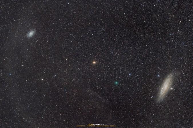 Galaktyki M33 (po lewej) M31 (po prawej) zielona kropka poniżej środka kadru to kometa 64P/Swift-Gehrels