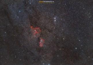 Mgławice Serce i Dusza a tuż nad nimi gromady gwiazd Hi Ha Persei