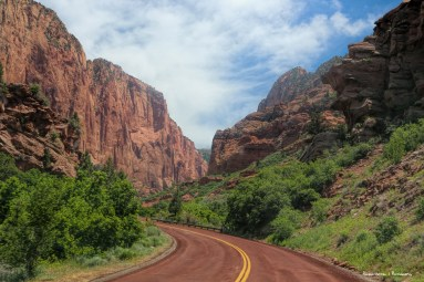 Scenic road leading into Kolob Canyons