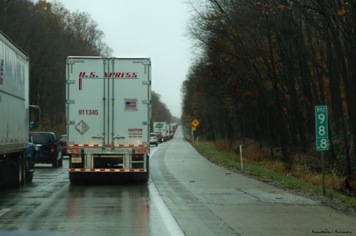 Slow down after three tractor trailer accident
