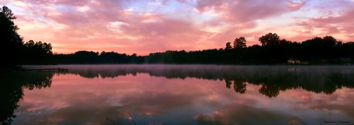 to pinks and blues as the mists rose off the lake