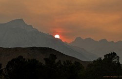 Smoky sunset over Mt. Whitney