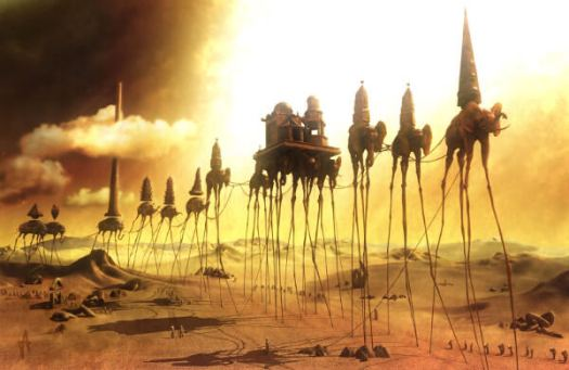 10th House Uranus: Painting of a caravan of elephants walking on long sticks, with castles on their back reaching the sky, inspired by Salvador Dali.