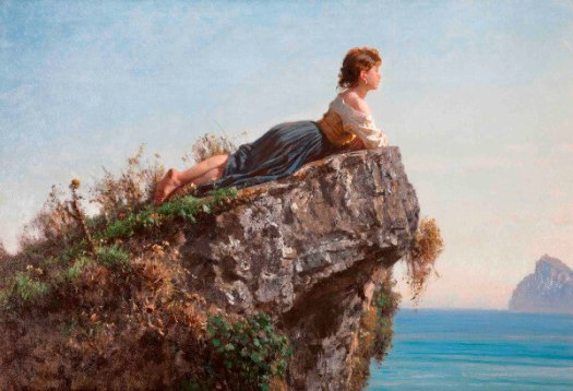 Saturn: A young girl lying on a rock is looking at the horizon.