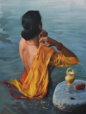 Retrograde Planets: An Indian lady standing in the water, adjusting her yellow dress over her naked shoulder.